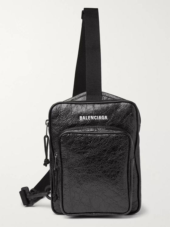 BALENCIAGA Logo-Print Crinkled-Leather Messenger Bag