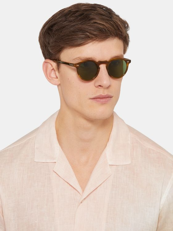 Oliver Peoples Gregory Peck Round-Frame Tortoiseshell Acetate Sunglasses