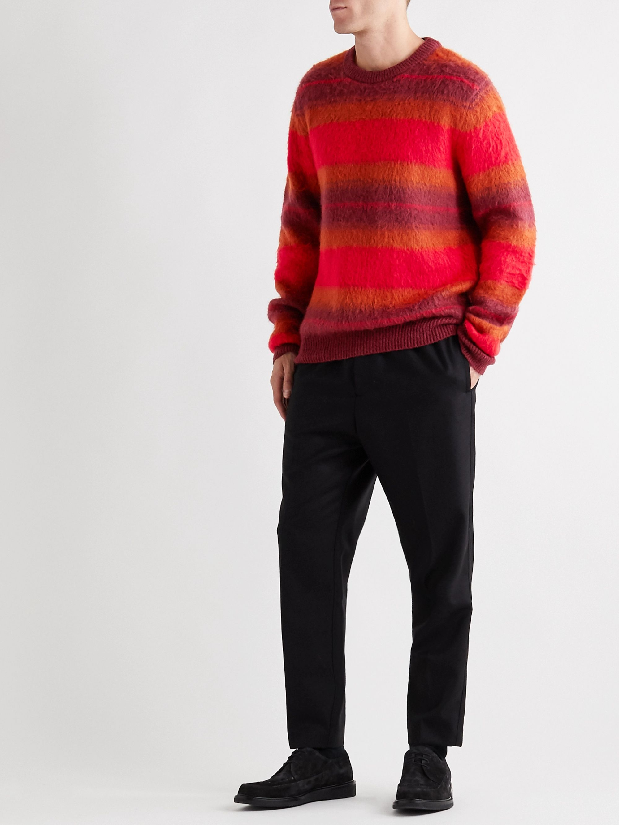 Mr P. Striped Brushed-Knit Sweater