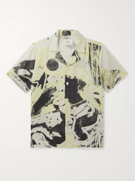 Folk + Alfie Kungu Camp-Collar Printed Linen and Cotton-Blend Shirt