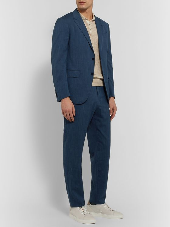 ERMENEGILDO ZEGNA Slim-Fit Wool-Blend Seersucker Suit Trousers