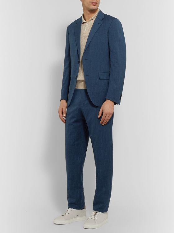 ERMENEGILDO ZEGNA Slim-Fit Wool-Blend Seersucker Suit Jacket