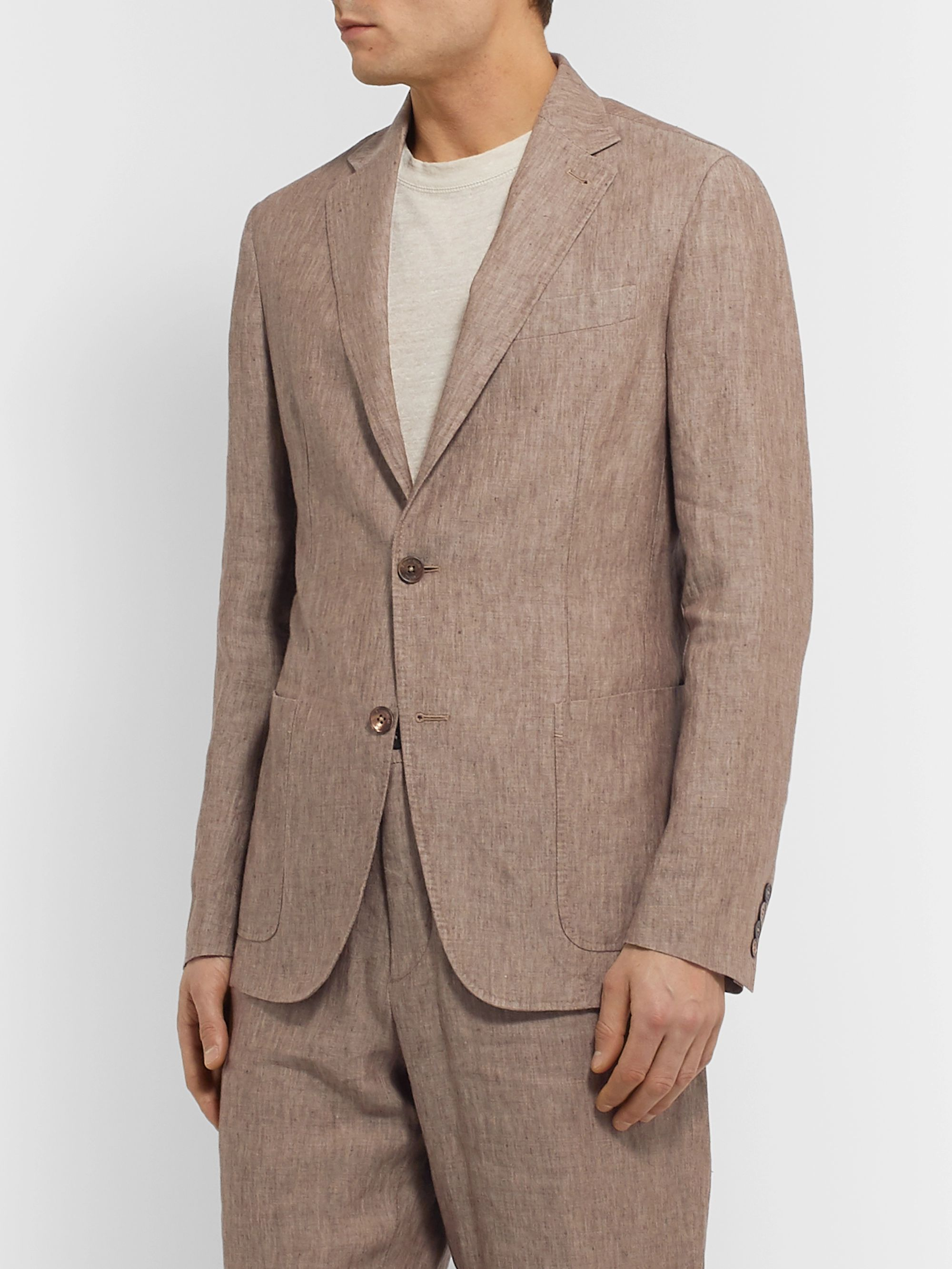 ERMENEGILDO ZEGNA Unstructured Linen Suit Jacket