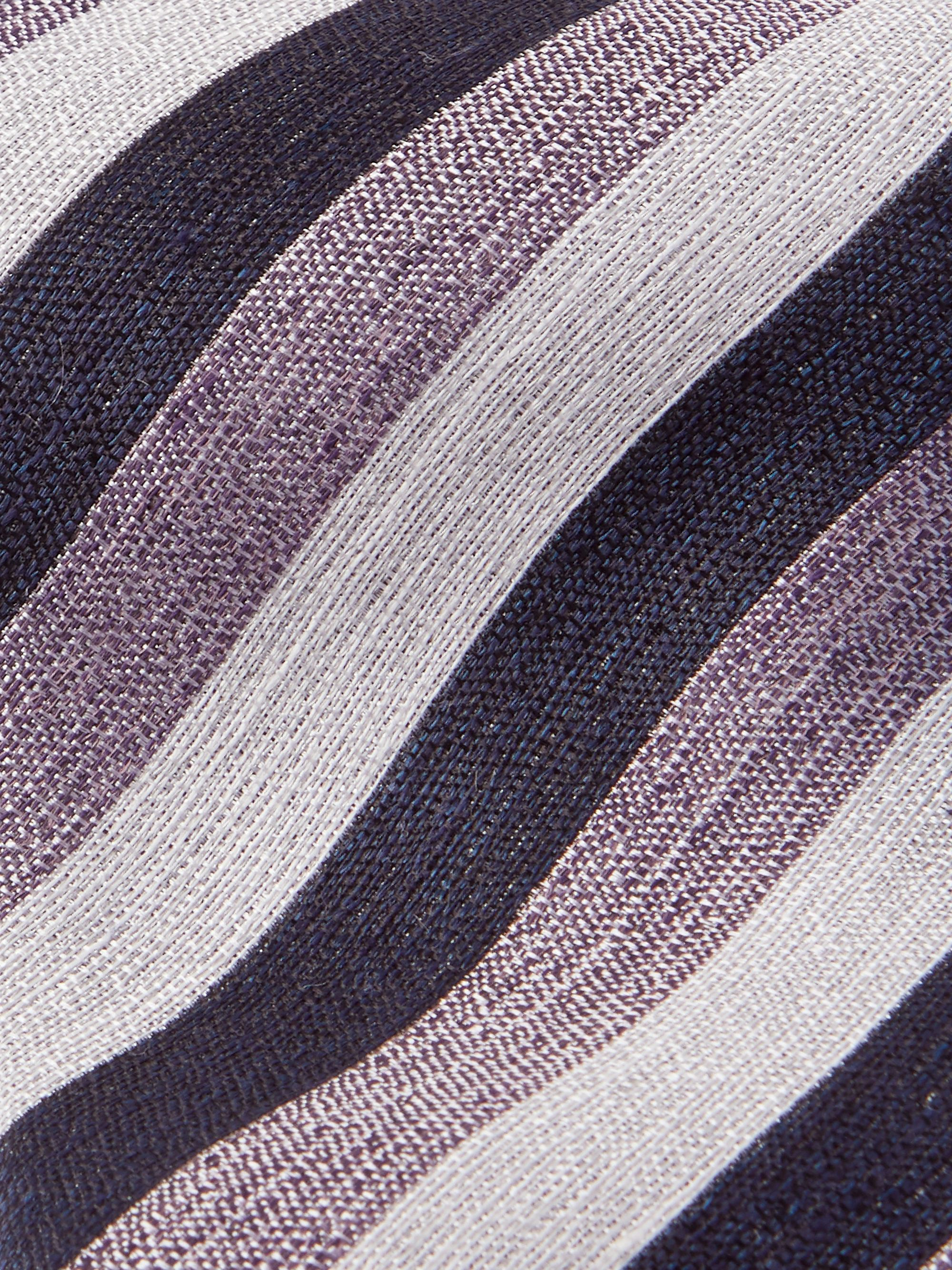 ERMENEGILDO ZEGNA 8cm Striped Linen and Silk-Blend Tie