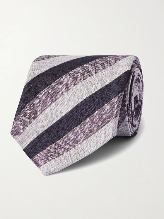 ERMENEGILDO ZEGNA 8.5cm Striped Linen and Silk-Blend Tie