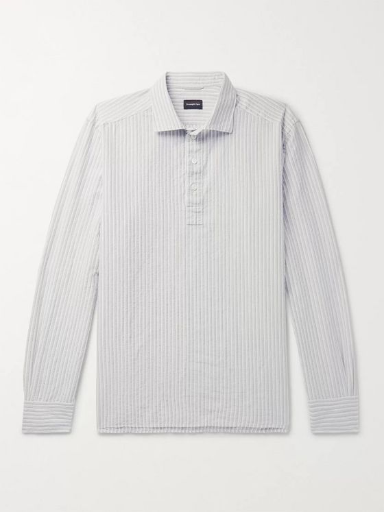 Ermenegildo Zegna Striped Slub Cotton and Linen-Blend Half-Placket Shirt