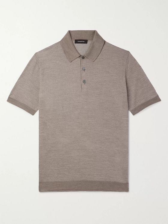 Ermenegildo Zegna Slim-Fit Textured-Knit Silk and Cotton-Blend Polo Shirt