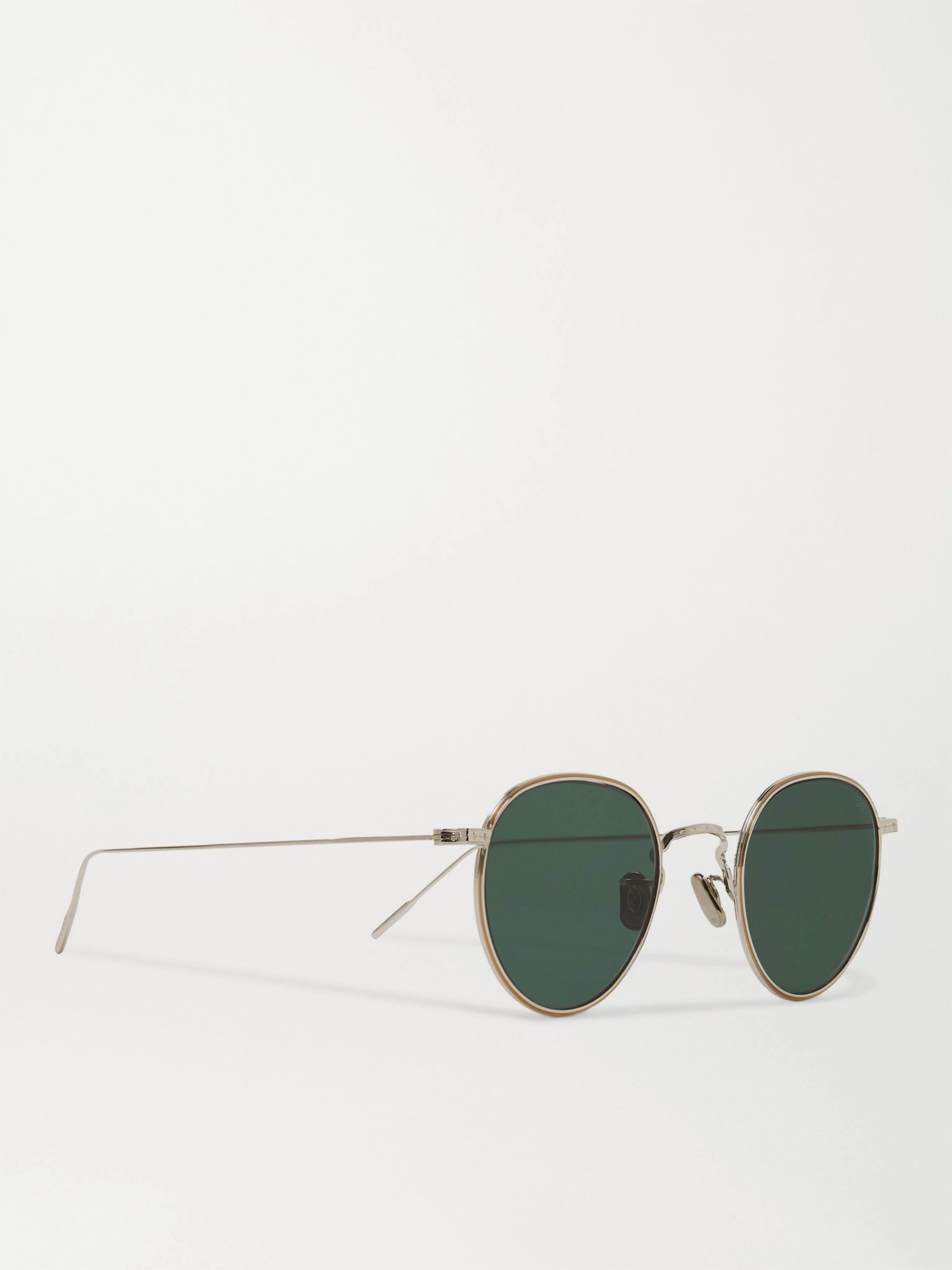 Eyevan 7285 Round-Frame Gold-Tone and Titanium Sunglasses