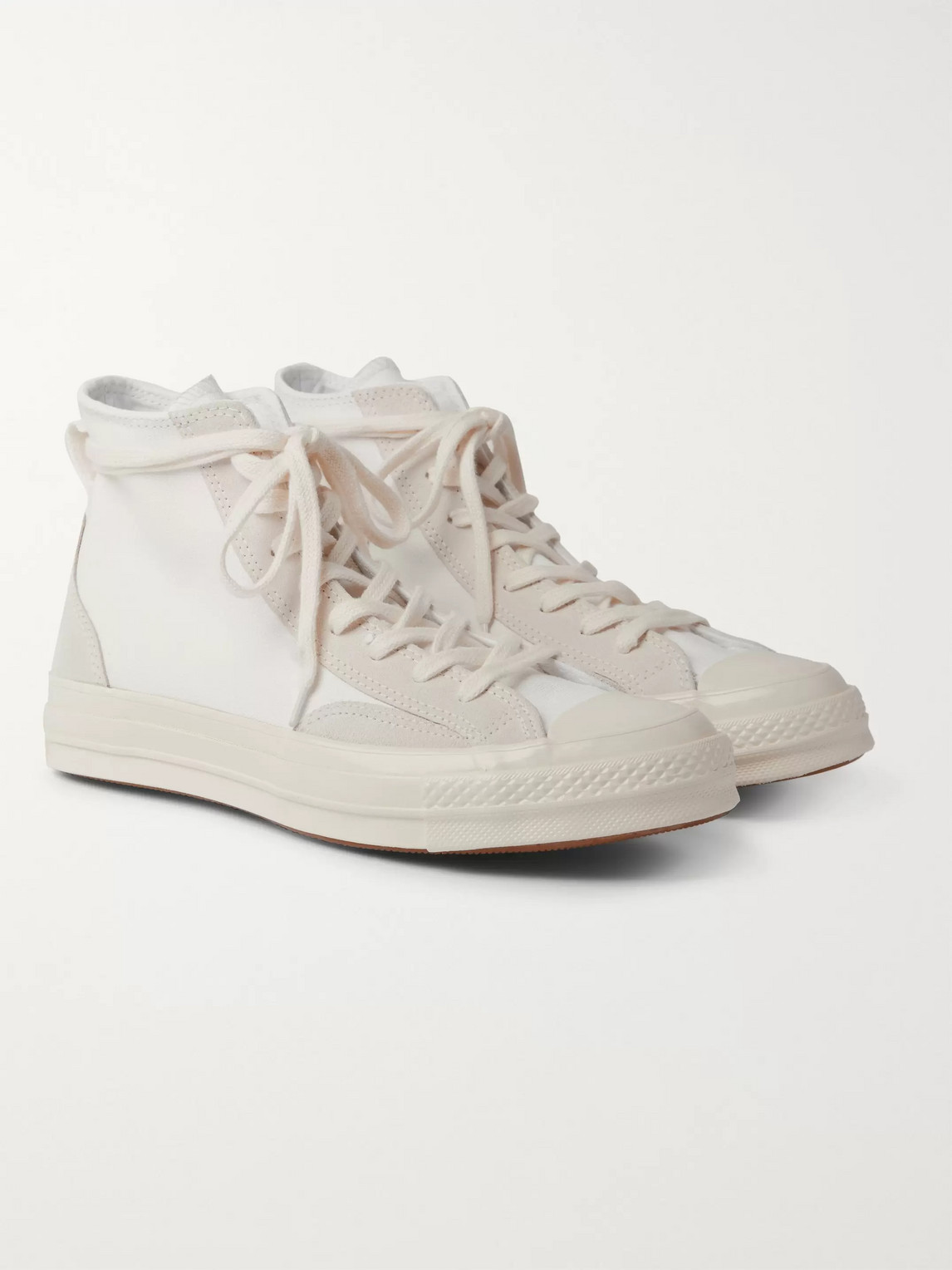 Converse Chuck 70 Final Club Suede-trimmed Organic Canvas High-top Sneakers In White