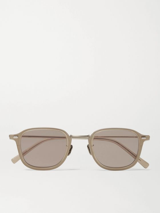 Eyevan 7285 Square-Frame Acetate and Gold-Tone Titanium Sunglasses