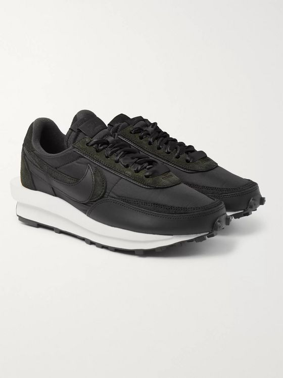 Nike + Sacai LDWaffle Suede, Shell and Leather Sneakers