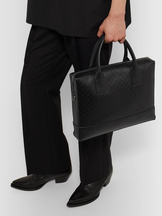 Bottega Veneta Intrecciato-Embossed Leather Briefcase