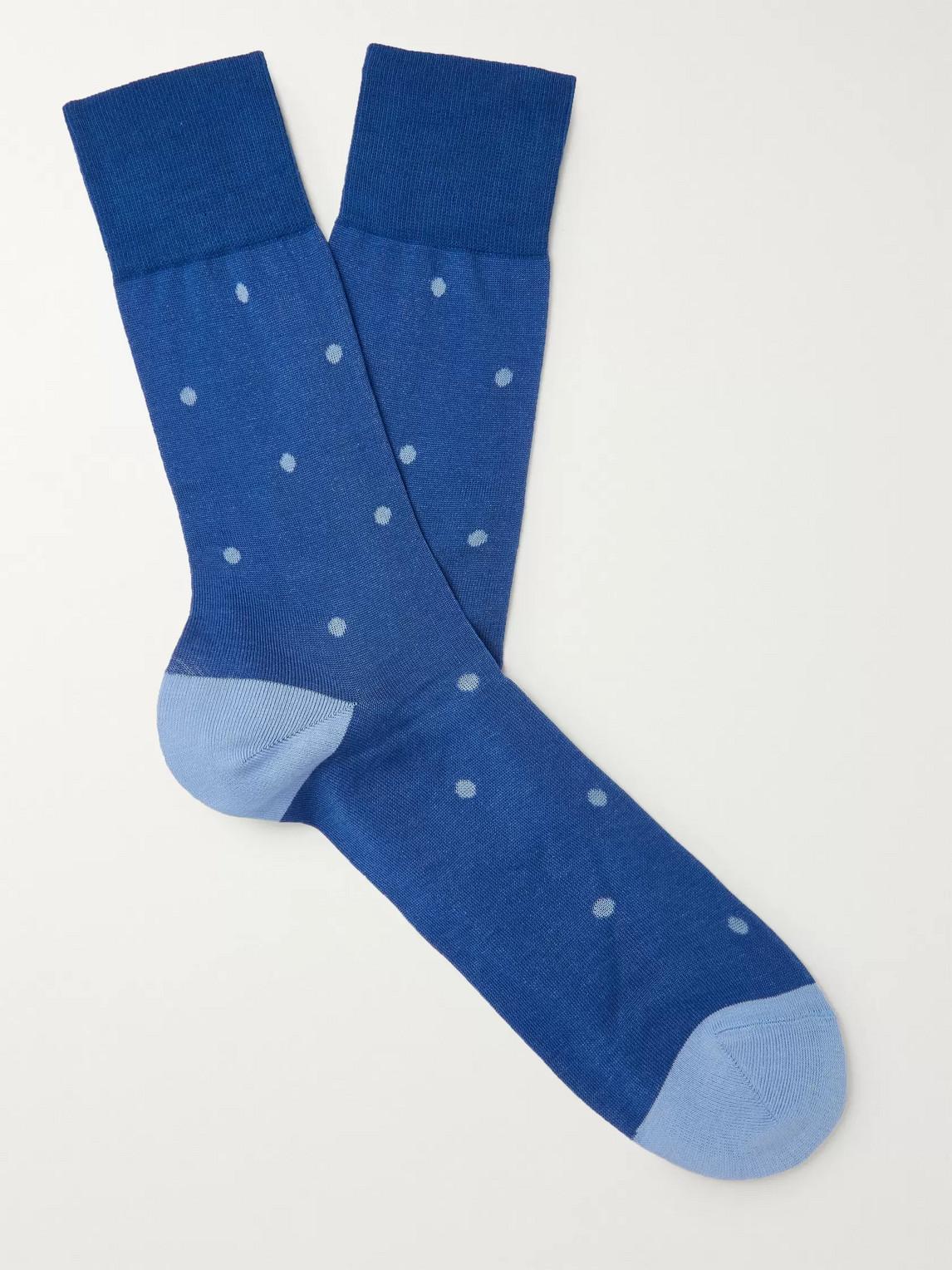 falke - polka-dot stretch-cotton socks - men - blue