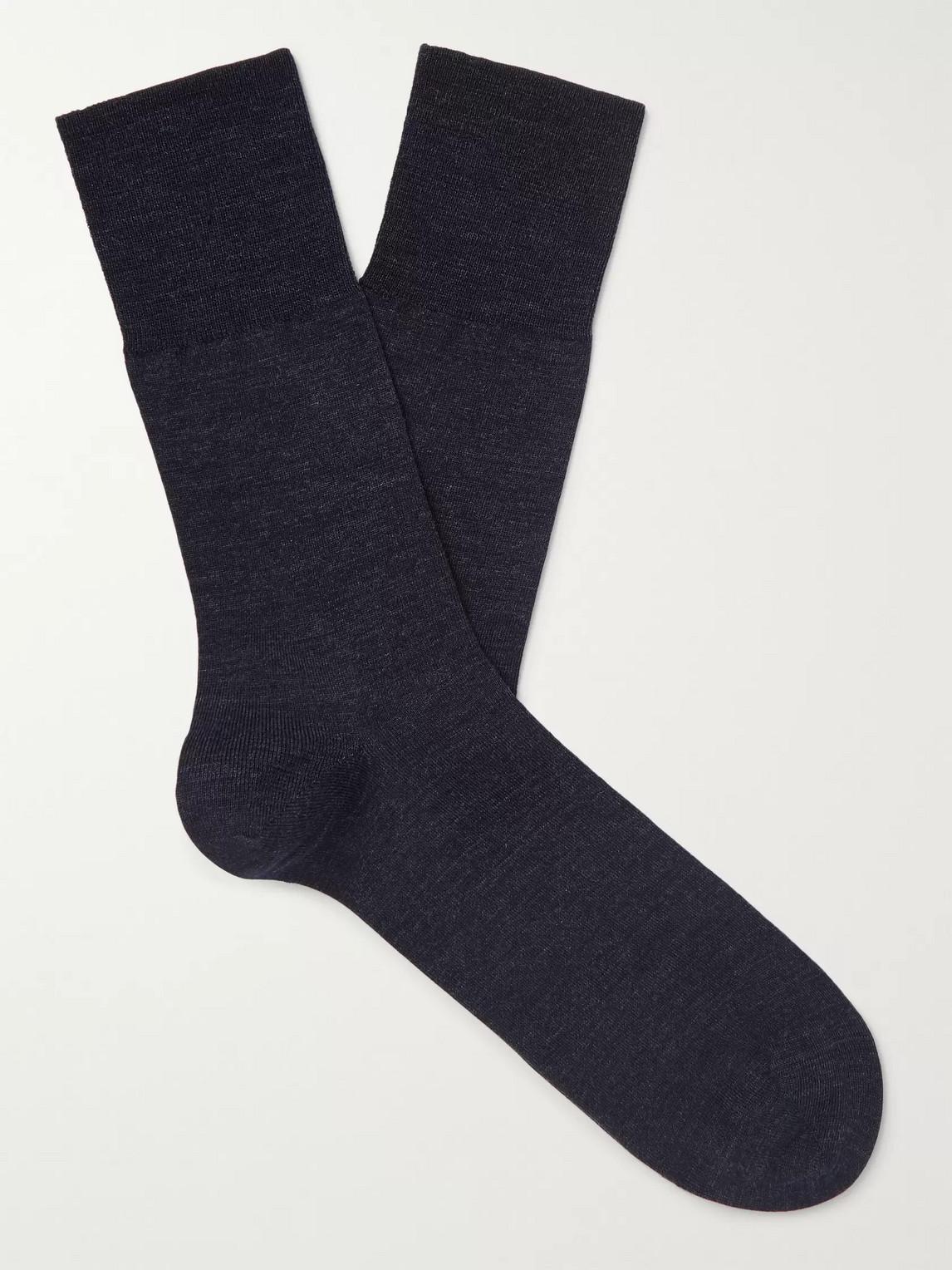 falke - airport city virgin wool-blend socks - men - gray