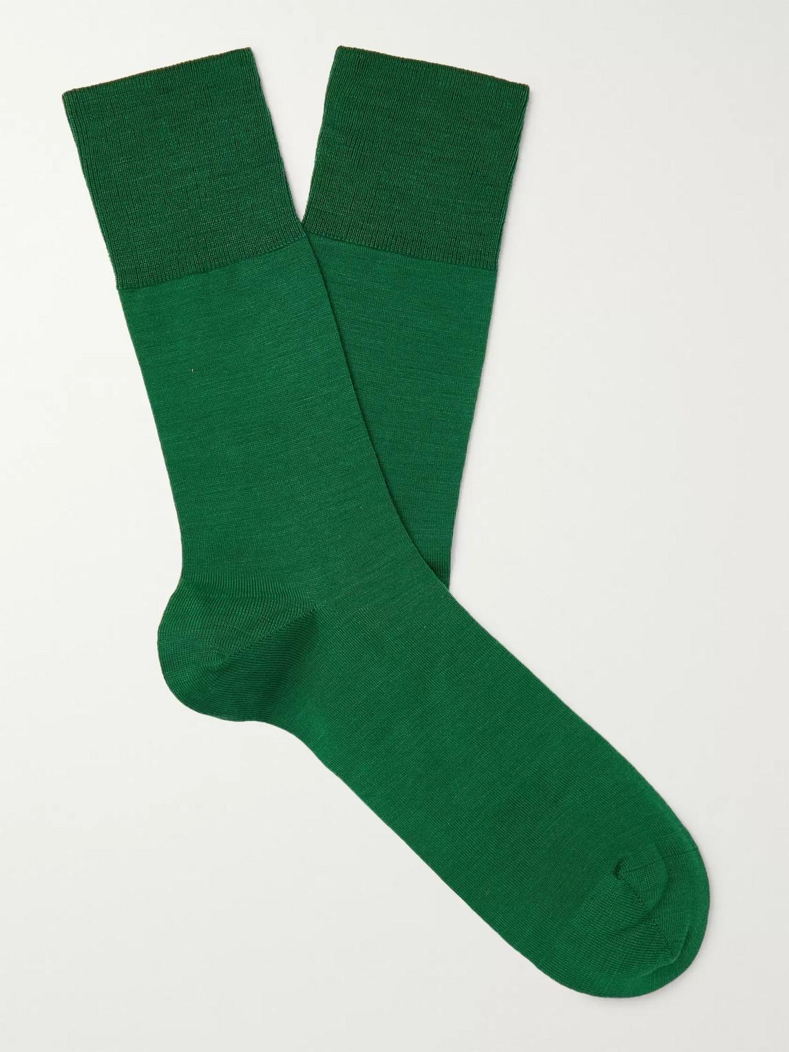 falke - airport city virgin wool-blend socks - men - green