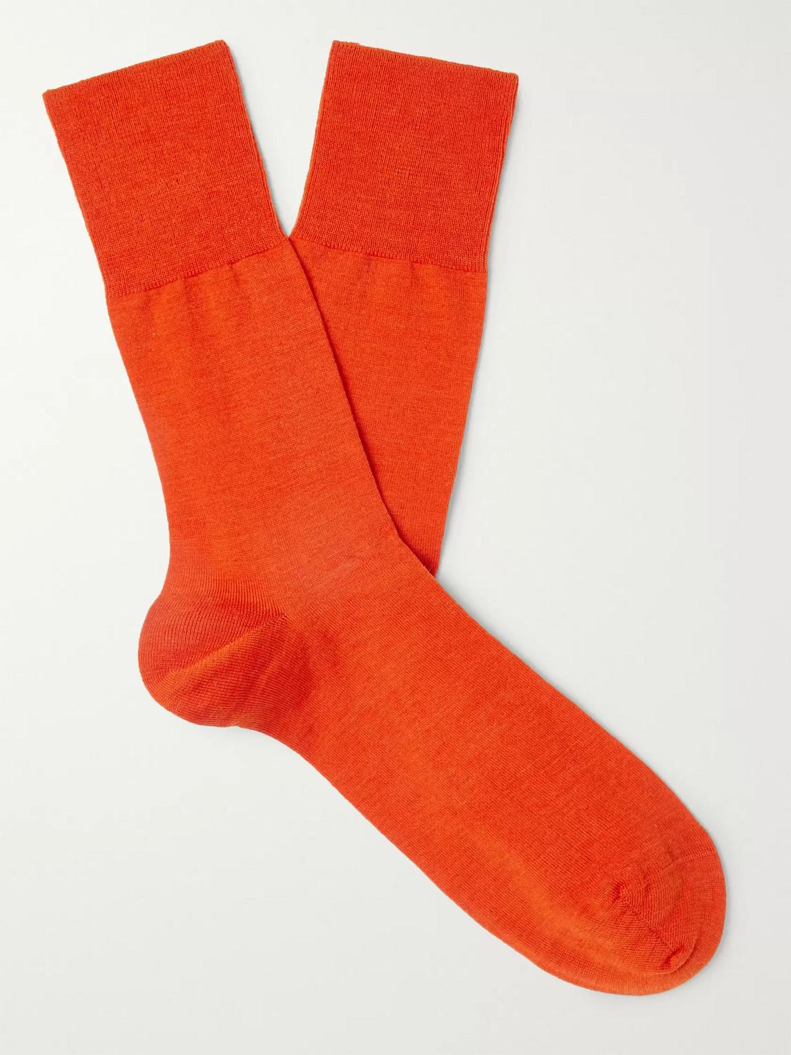 falke - airport city virgin wool-blend socks - men - red