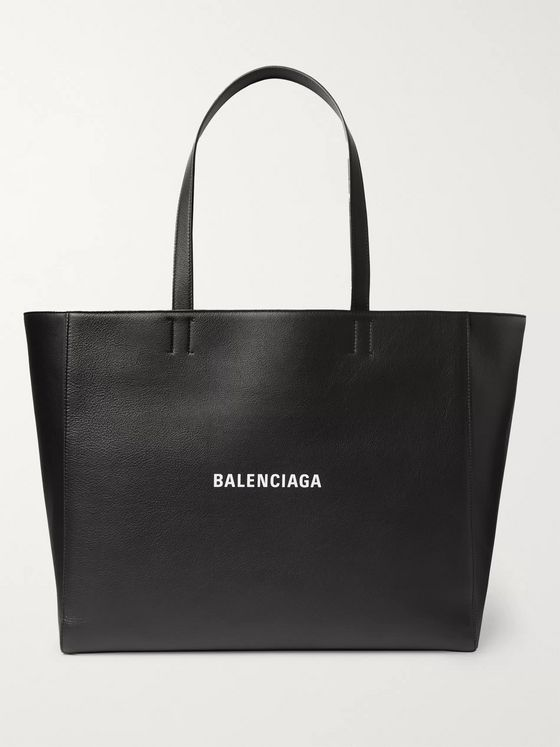 BALENCIAGA Everyday Logo-Print Full-Grain Leather Tote Bag