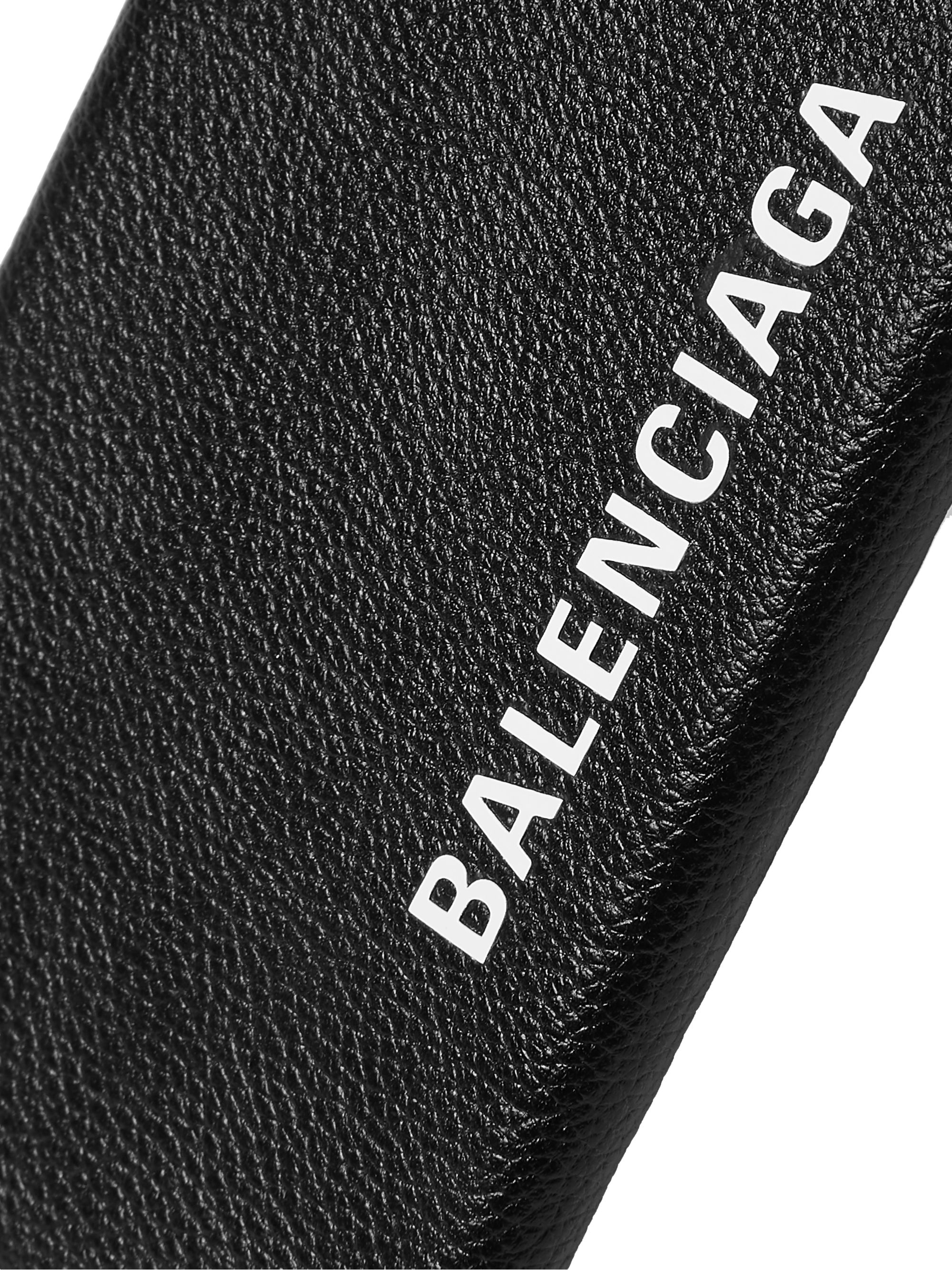Balenciaga Logo-Print Full-Grain Leather iPhone 11 Pro Max Case