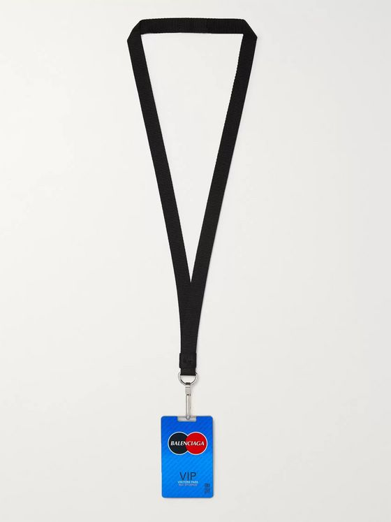 Balenciaga Logo-Detailed Enamel, Metal and Grosgrain Lanyard