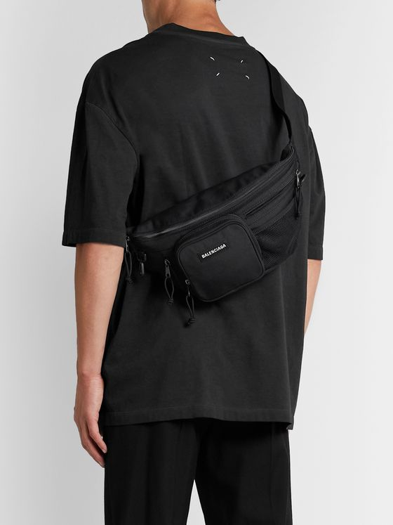 Balenciaga Logo-Appliquéd Canvas and Mesh Belt Bag