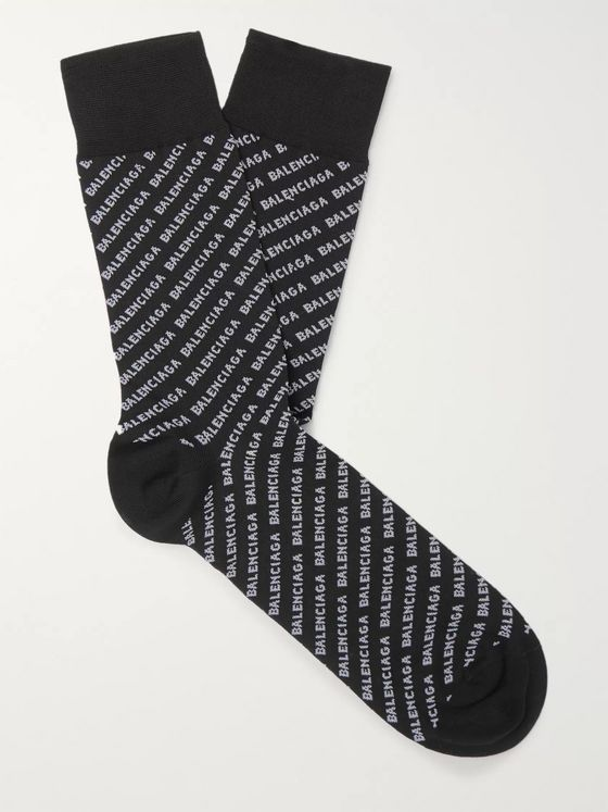 Balenciaga Logo-Jacquard Stretch Cotton-Blend Socks