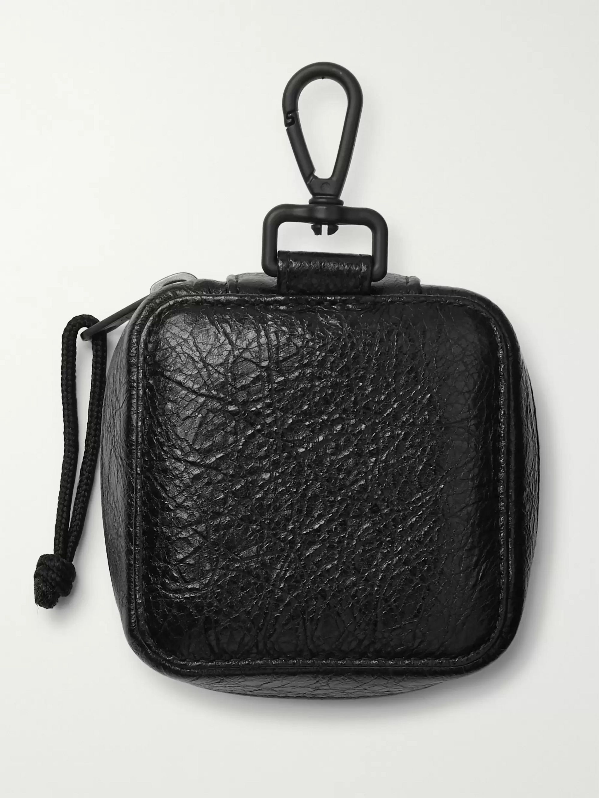 Balenciaga Arena Logo-Print Creased-Leather Pouch