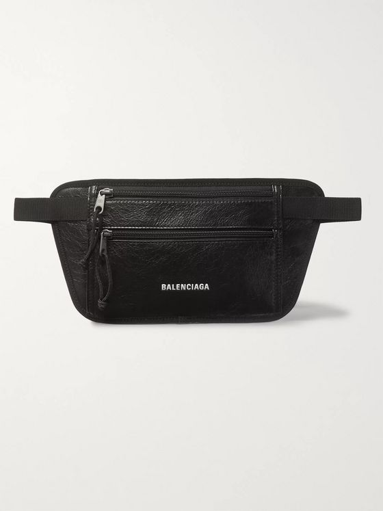 Balenciaga Arena Logo-Print Creased-Leather Belt Bag