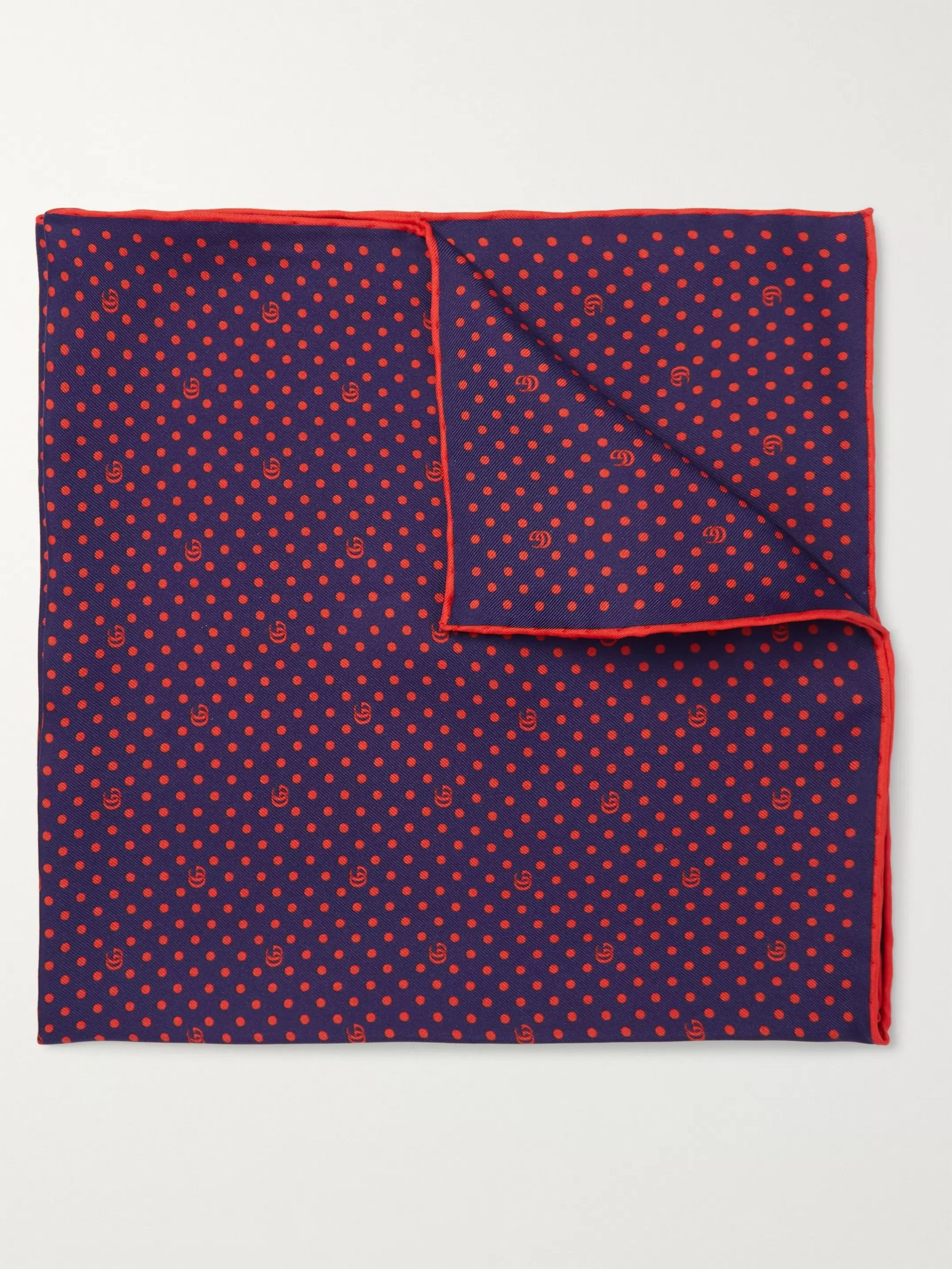 구찌 포켓 스퀘어 Gucci Logo-Print Silk-Twill Pocket Square,Navy