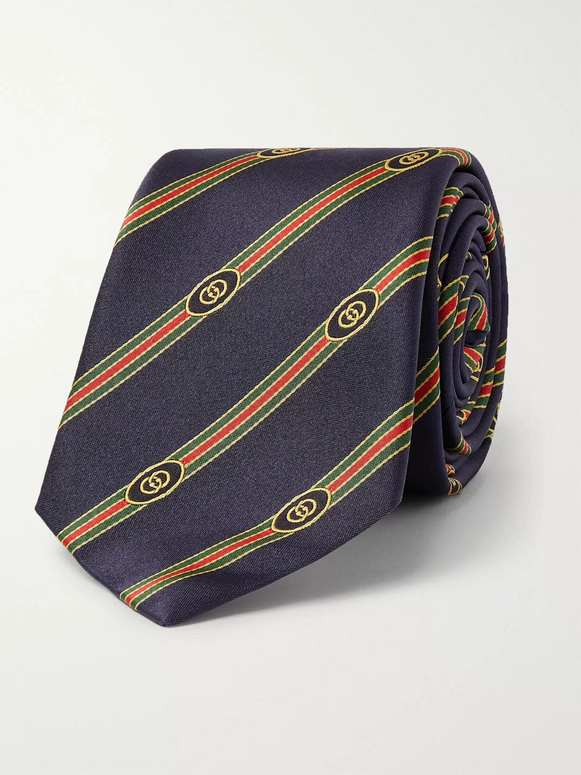 구찌 넥타이 Gucci 7cm Logo-Jacquard Silk Tie,Navy