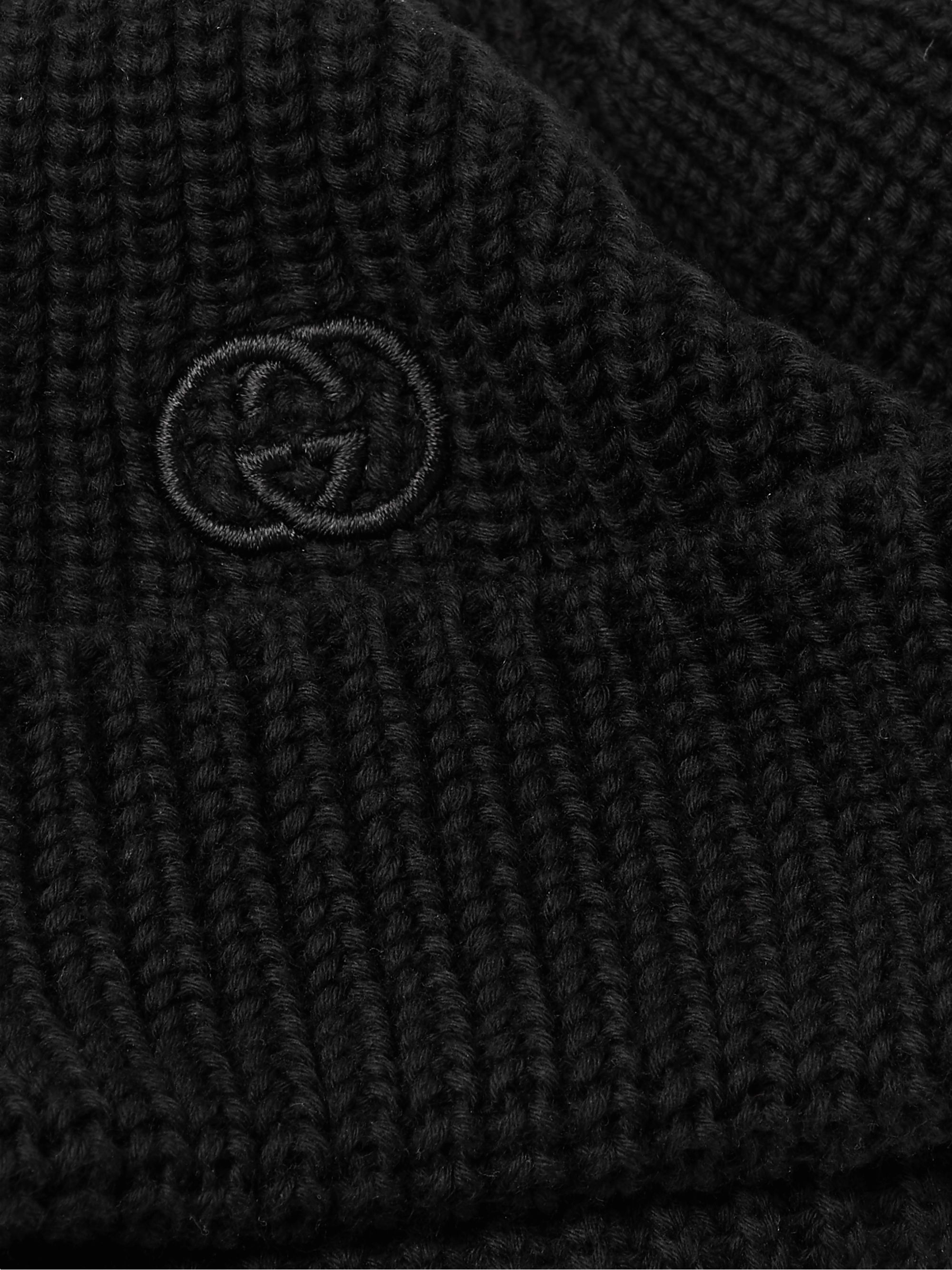 GUCCI Logo-Embroidered Cable-Knit Cotton Beanie
