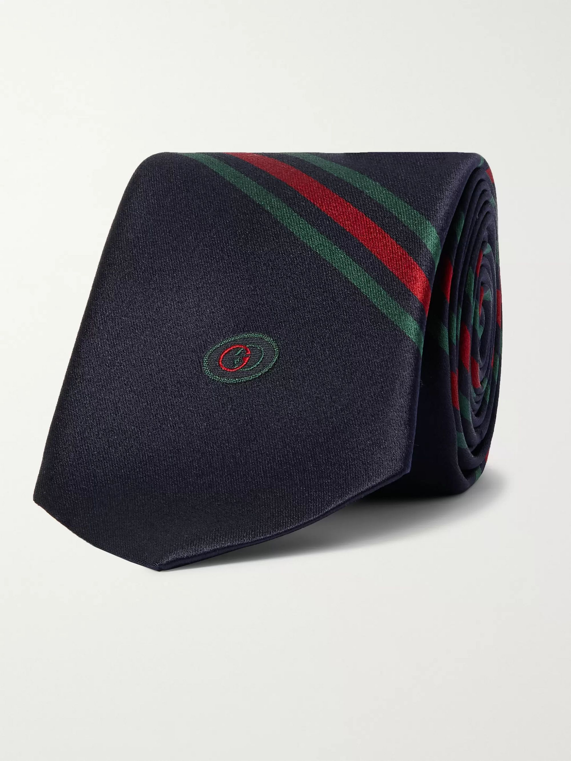 GUCCI 7cm Logo-Detailed Striped Silk Tie