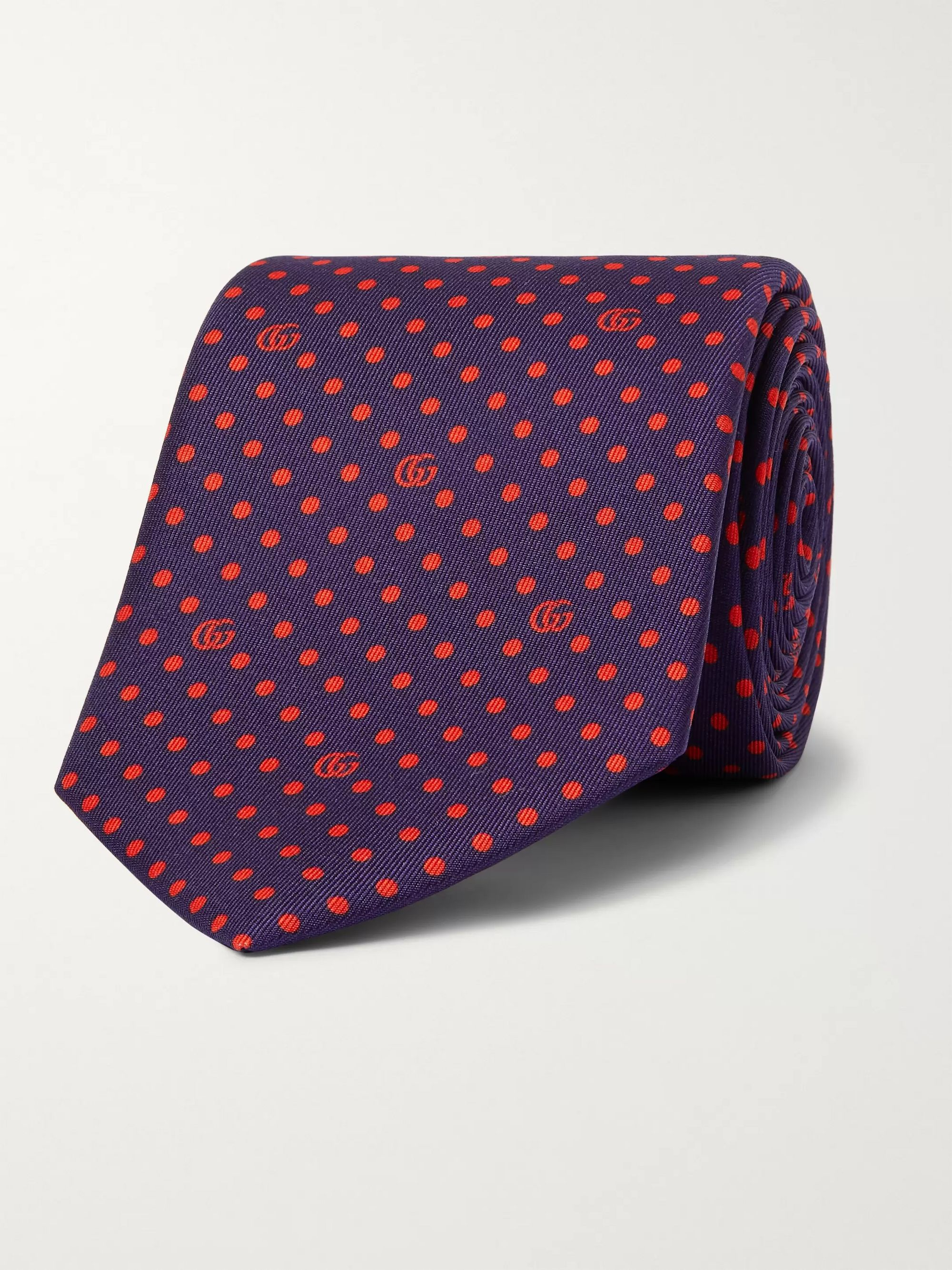 구찌 넥타이 Gucci 7cm Logo-Print Silk-Twill Tie,Navy