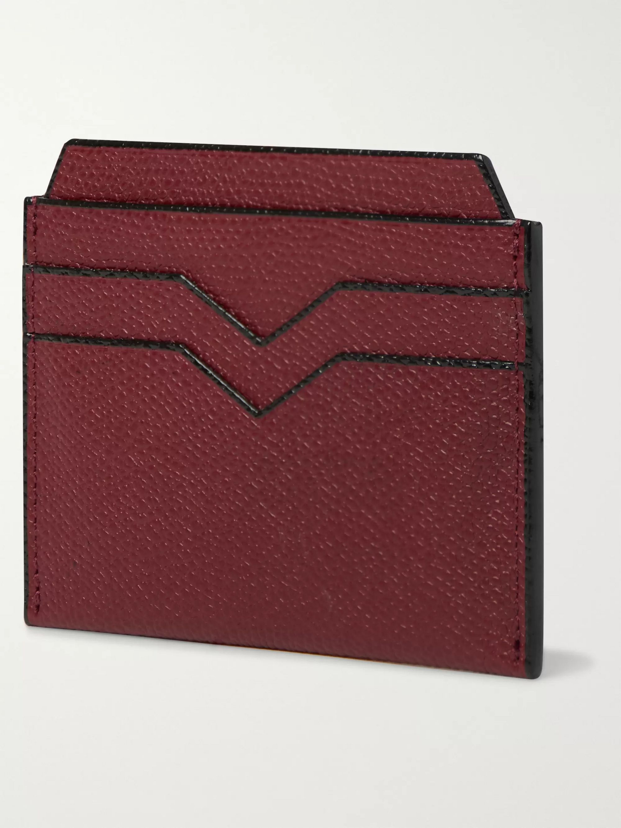 Valextra Pebble-Grain Leather Cardholder