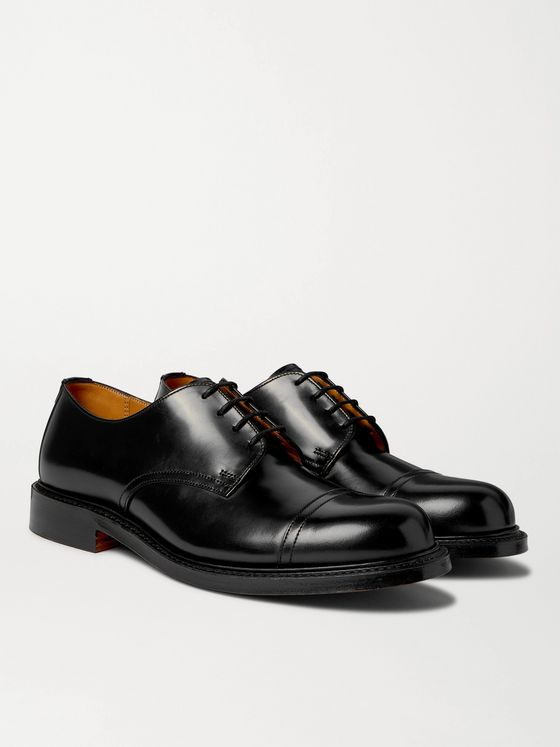 Mr P. Heath Cap-Toe Polished-Leather Derby Shoes
