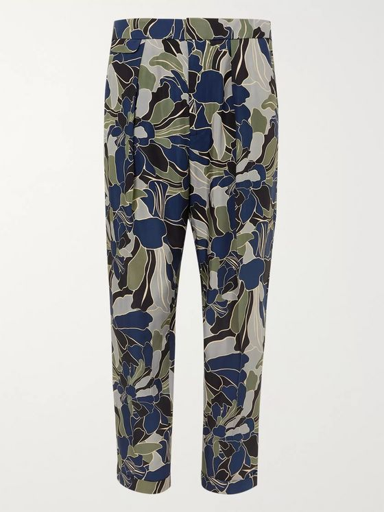 EQUIPMENT The Original Tapered Cropped Pleated Printed Twill Trousers