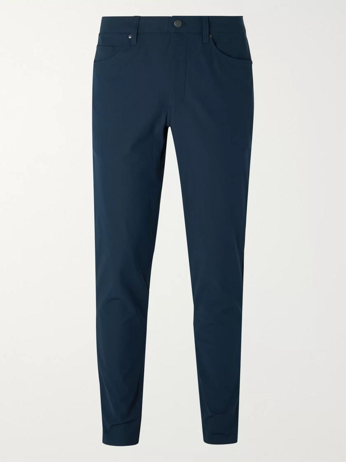 lululemon - abc slim-fit warpstreme trousers - men - blue