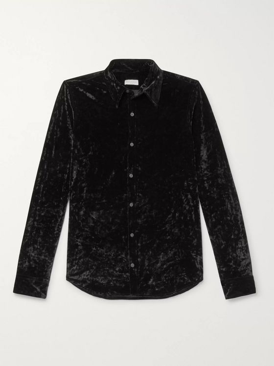 Dries Van Noten Slim-Fit Crushed-Velvet Shirt