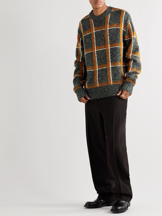 DRIES VAN NOTEN Oversized Checked Mélange Merino Wool-Blend Sweater