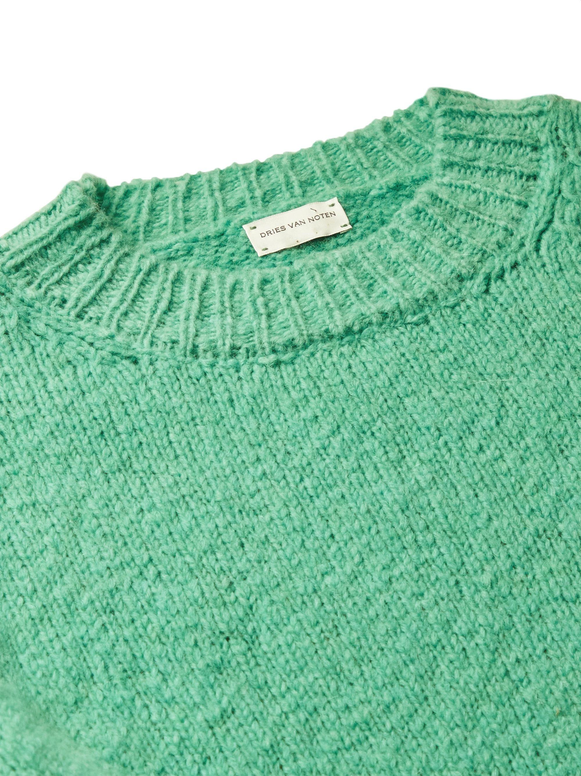 Mint Ribbed Merino Wool-blend Sweater | Dries Van Noten