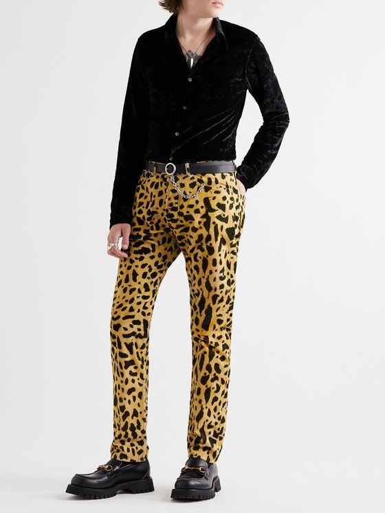 Dries Van Noten Slim-Fit Tapered Leopard-Print Cotton-Corduroy Trousers