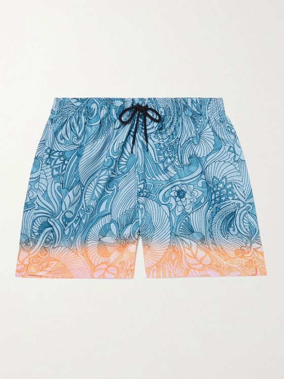 Dries Van Noten Mid-Length Dégradé Printed Shell Swim Shorts