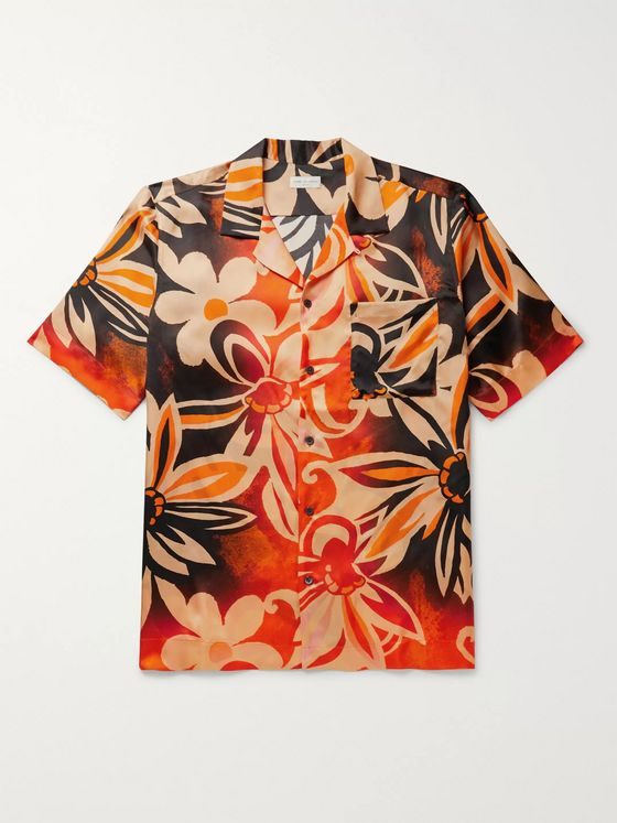Dries Van Noten Camp-Collar Printed Satin Shirt