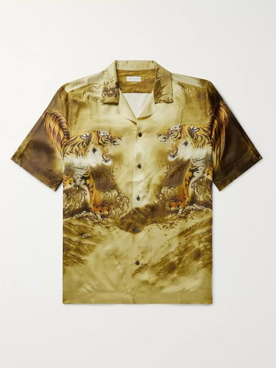 Dries Van Noten Camp-Collar Printed Satin-Twill Shirt