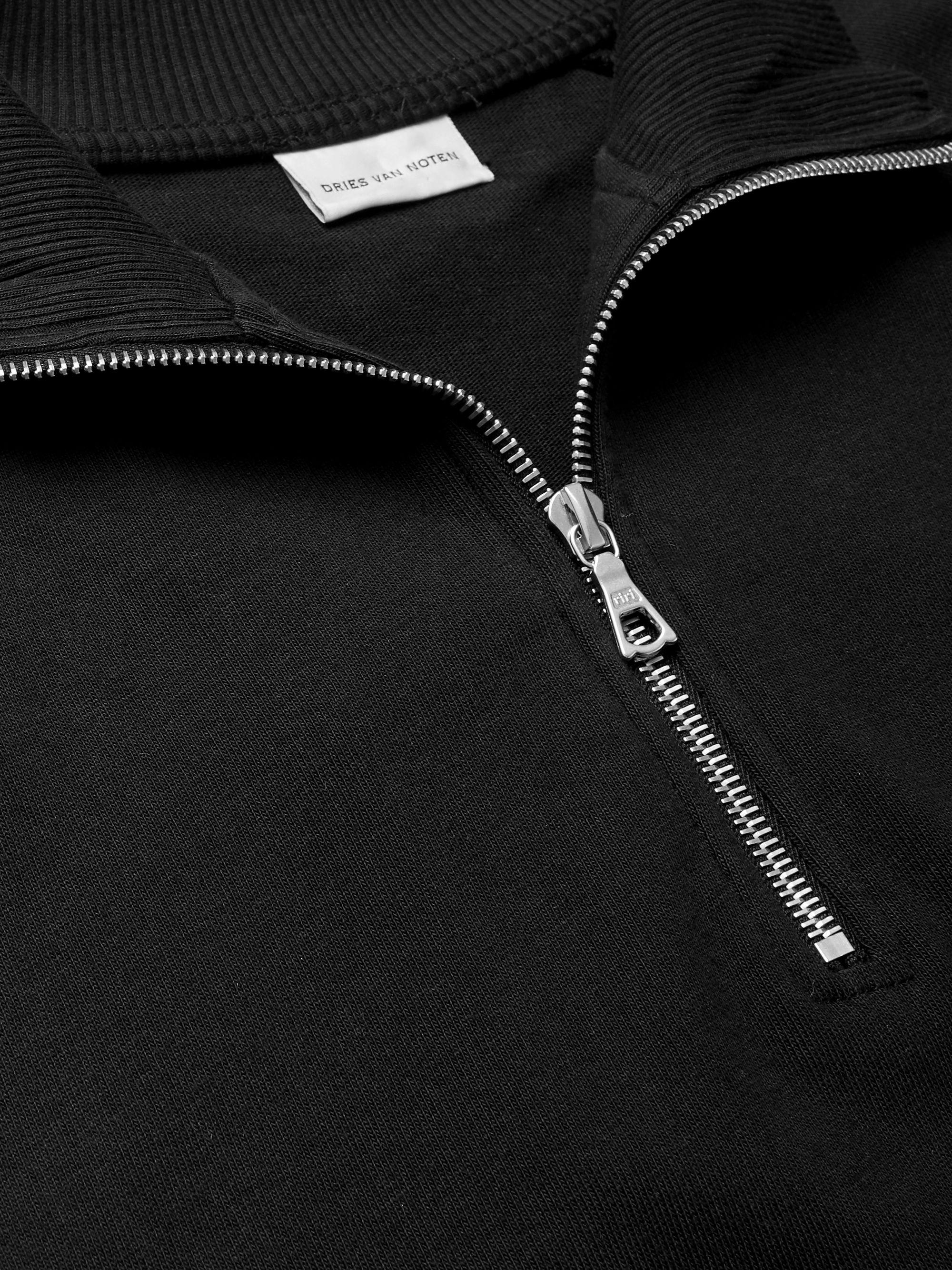 Black Cotton-jersey Half-zip Sweatshirt | Dries Van Noten