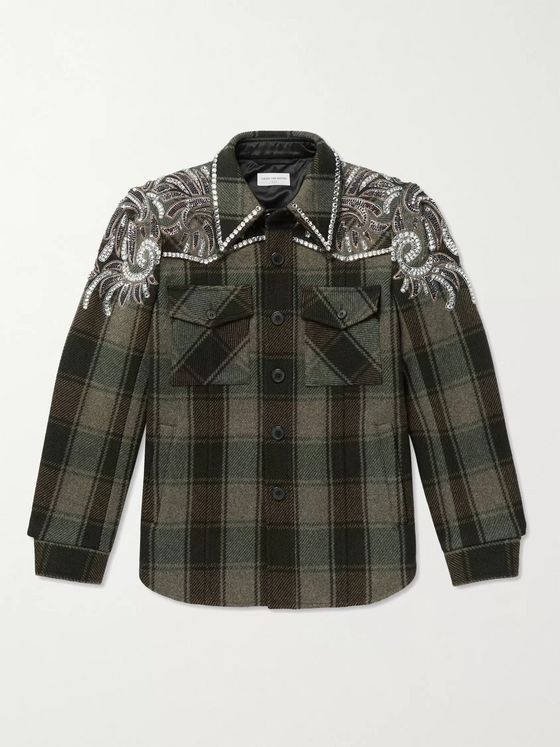 Dries Van Noten Embellished Checked Cotton-Twill Overshirt