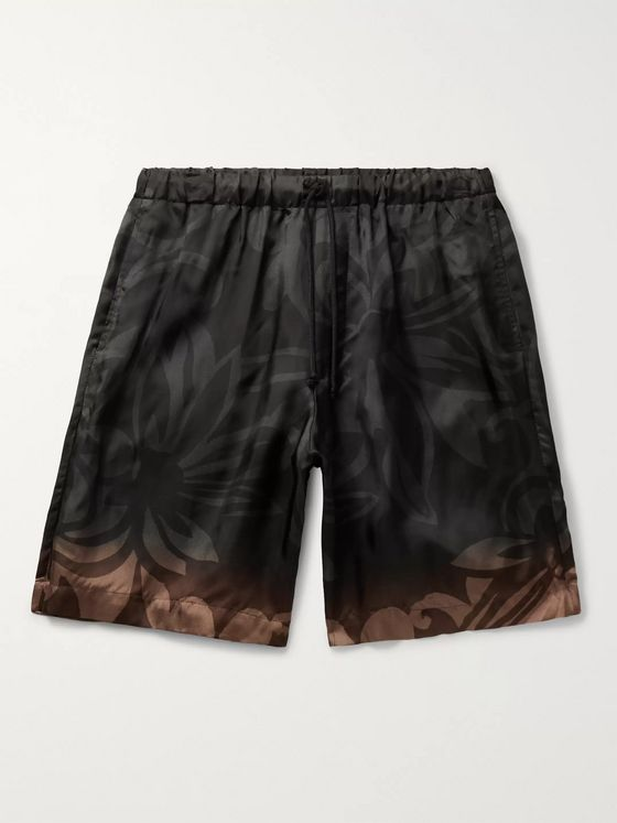Dries Van Noten Floral-Print Satin-Twill Drawstring Shorts