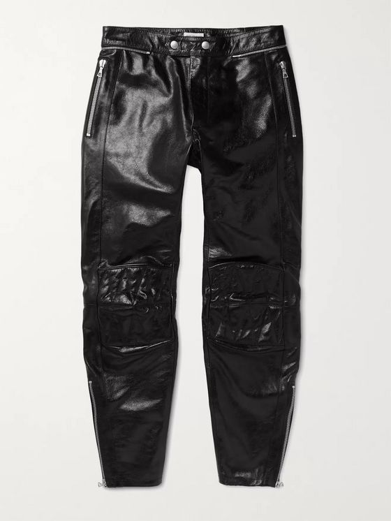 Dries Van Noten Slim-Fit Glossed Full-Grain Leather Trousers