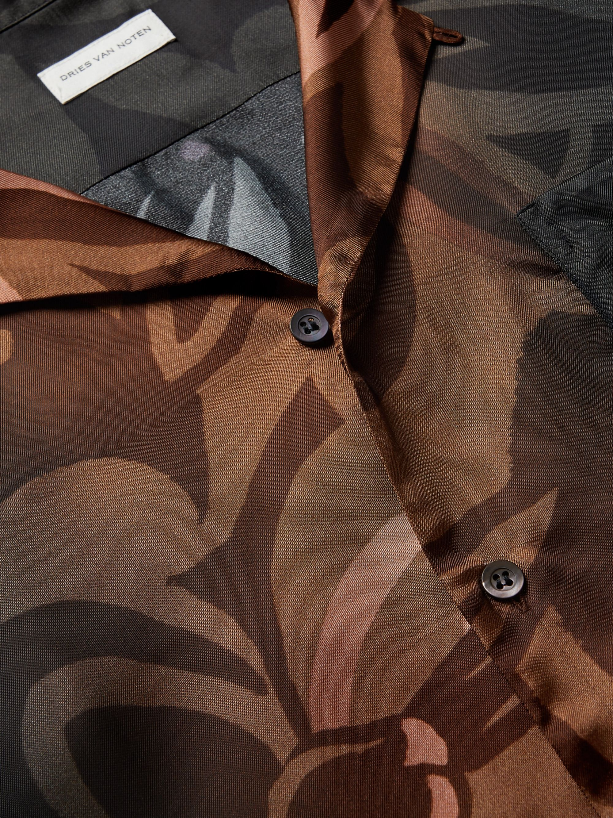 Black Camp-collar Printed Satin Shirt   Dries Van Noten