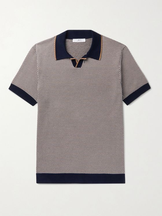 MR P. Slim-Fit Contrast-Tipped Honeycomb-Knit Cotton Polo Shirt