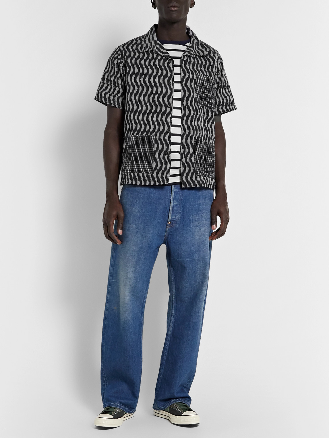 The Workers Club Camp-collar Printed Cotton Shirt In Black